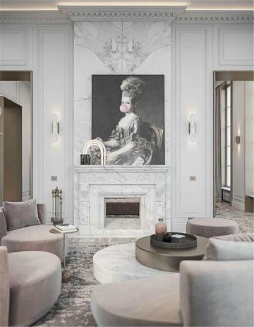 唯美粉色客厅图片