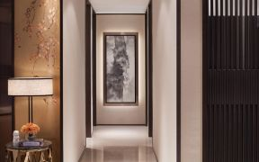 客厅白色走廊实景图