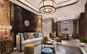 新中式客厅吊顶装潢图