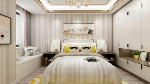 现代卧室床装饰实景图片