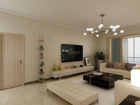 客厅米色背景墙装潢设计图片