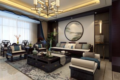 清爽客厅新中式装饰设计图片