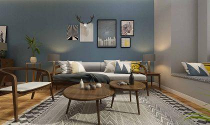 奢华大气蓝色客厅装潢实景图片
