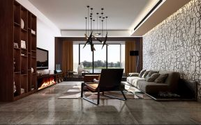 现代简约客厅吊顶案例图