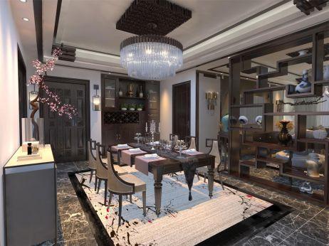 2019新中式餐厅效果图 2019新中式吊顶装修图片