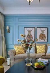 客厅蓝色背景墙装修图片