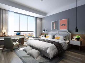 卧室灰色床装潢设计图片
