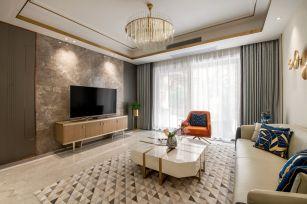 美式客厅背景墙装潢设计图片