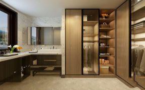 簡單大氣原木色衣柜裝潢實景圖片