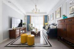 2020美式客厅装修设计 2020美式窗帘装修效果图片