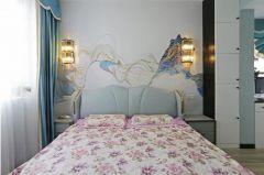 现代卧室背景墙装潢实景图片