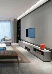 客厅红木色背景墙装修设计