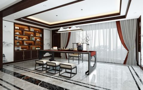 2020新中式书房装修设计 2020新中式窗帘设计图片