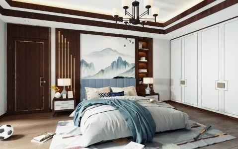 卧室背景墙新中式案例图片