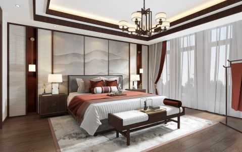 2020新中式卧室装修设计图片 2020新中式背景墙装饰设计
