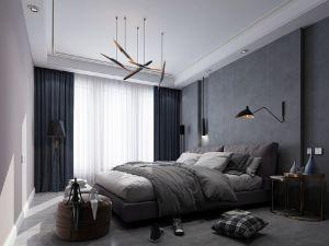 卧室黑白灰床装修实景图片