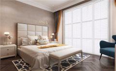 美式卧室床装潢实景图