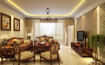 古朴暖色系客厅装修案例效果图