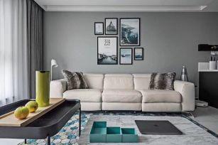 现代白色客厅设计图欣赏