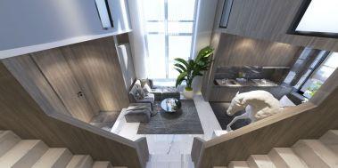 客厅原木色楼梯装饰设计图片