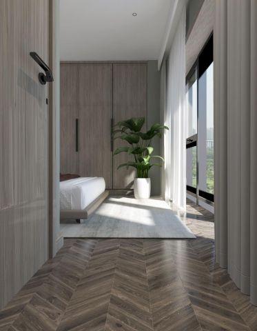 卧室原木色床平面图