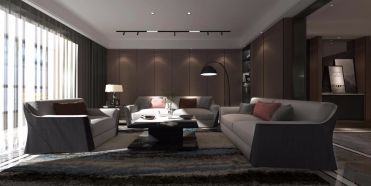 客厅黑白灰沙发装修效果图