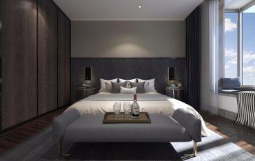 现代灰色床装修设计