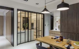 现代简约餐厅地板砖室内效果图