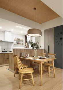 简约日式原木色餐桌装修案例效果图