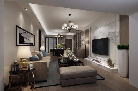 2020現代客廳裝修設計 2020現代吊頂設計圖片