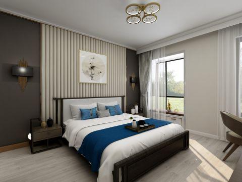 2020新中式卧室装修设计图片 2020新中式床装修效果图片