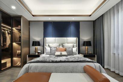 现代灰色床室内效果图