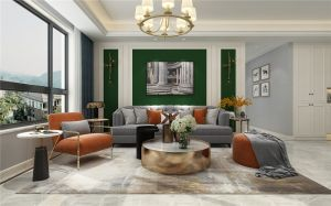 现代暖色系卧室构造图