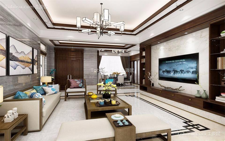 121平米新中式风格三居室装修效果图