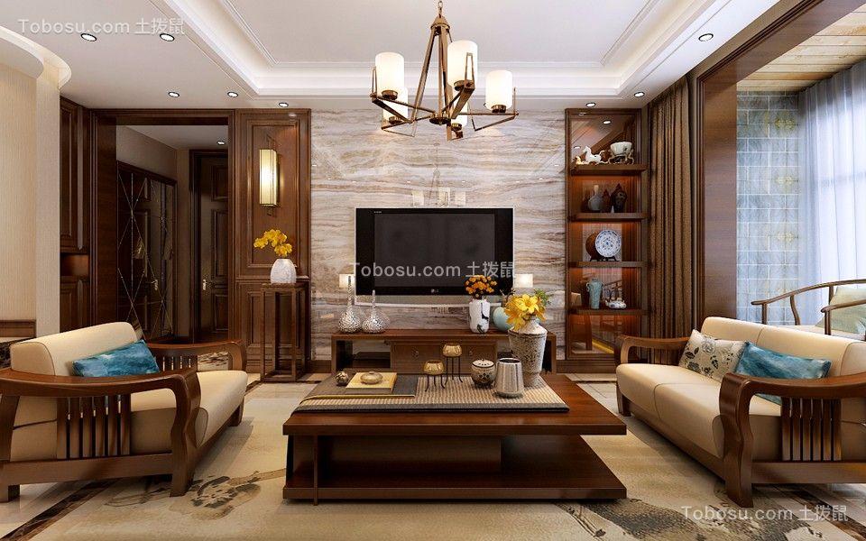 龙景逸墅180平米新中式风格四居室装修效果图