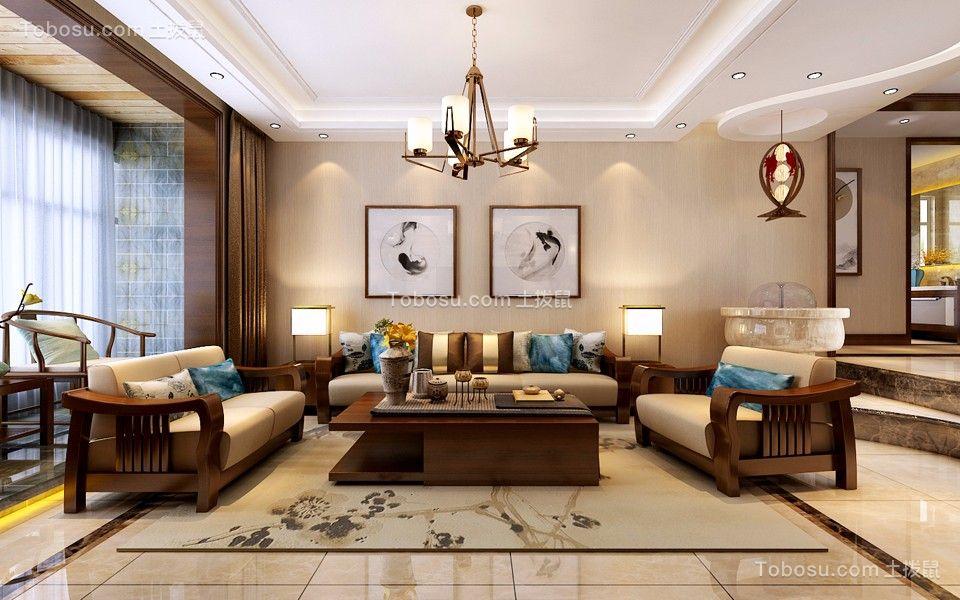 客厅咖啡色细节新中式风格效果图