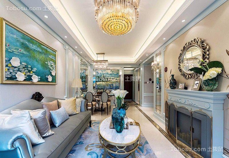 客厅 背景墙_湘江世纪城130平三居室法式装修效果图