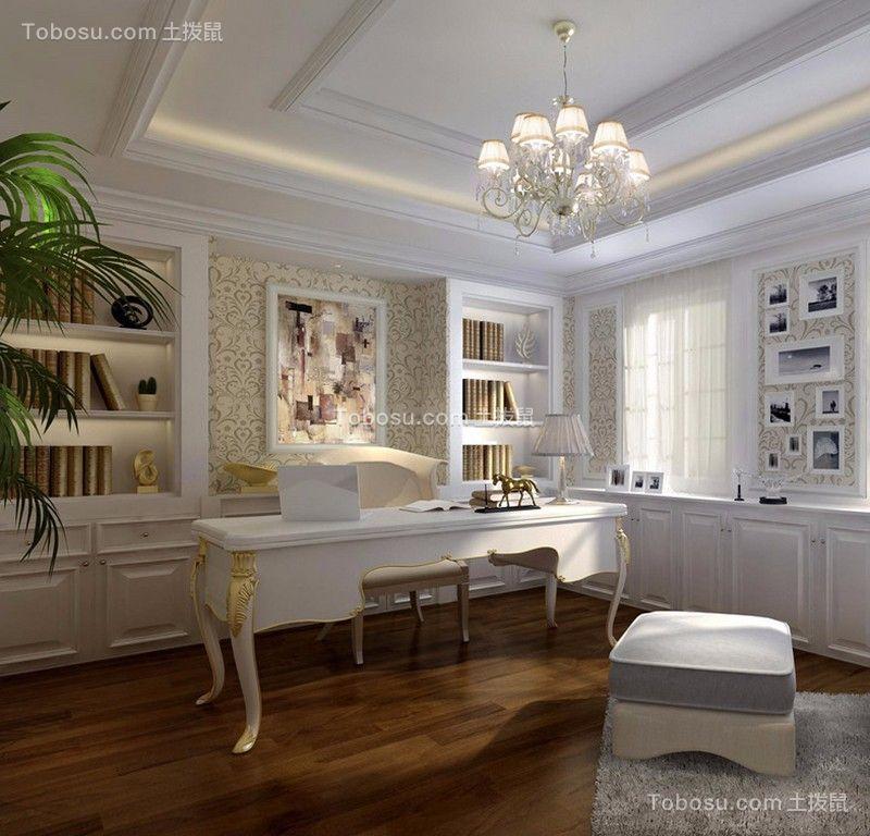 书房 书架_湘江世纪城130平三居室法式装修效果图