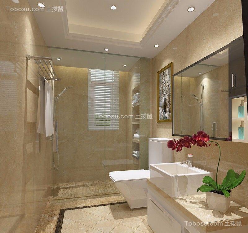 浴室 浴缸_湘江世纪城130平三居室法式装修效果图