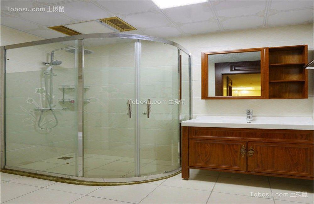 浴室白色背景墙美式风格装饰效果图
