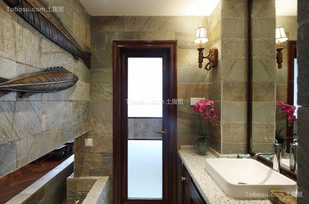 卫生间灰色洗漱台东南亚风格装饰设计图片