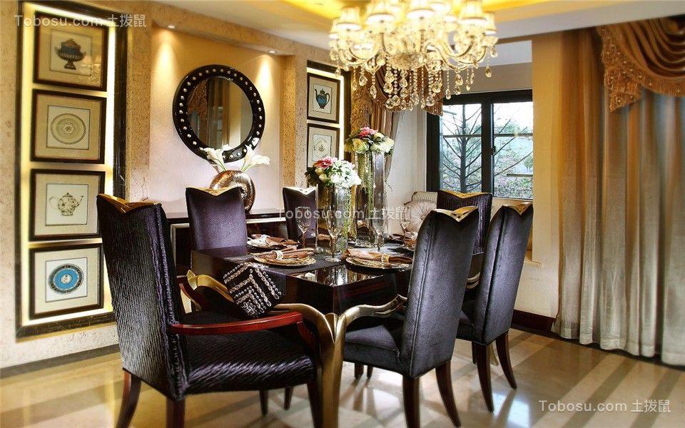 餐厅咖啡色窗帘欧式风格效果图