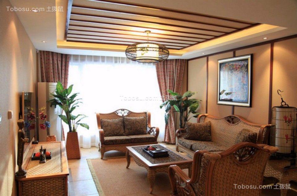 融信白宫两室两厅98平东南亚风格装修效果图