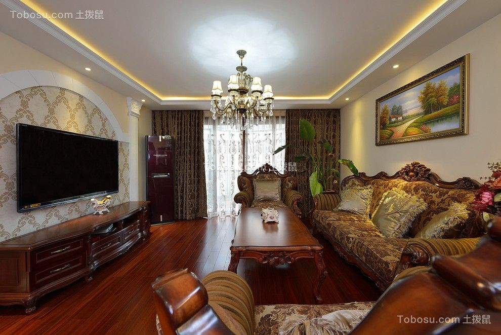 保利星座107平米欧式风格三居室装修效果图