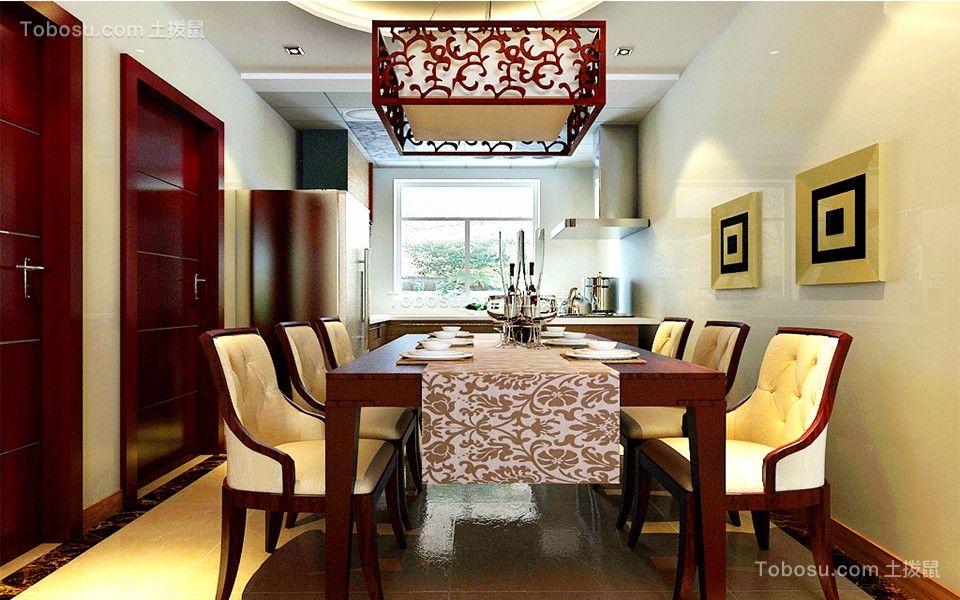 餐厅咖啡色灯具新中式风格效果图