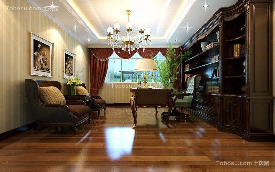 书房 书架_荷枫水岸120平米简欧家装效果图图片