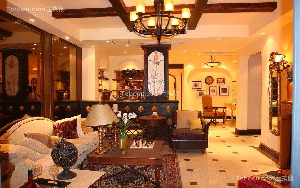 北岸江山103平米现代美式风格三室一厅装修效果图