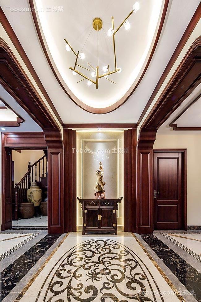 玄关咖啡色门厅新中式风格装饰效果图