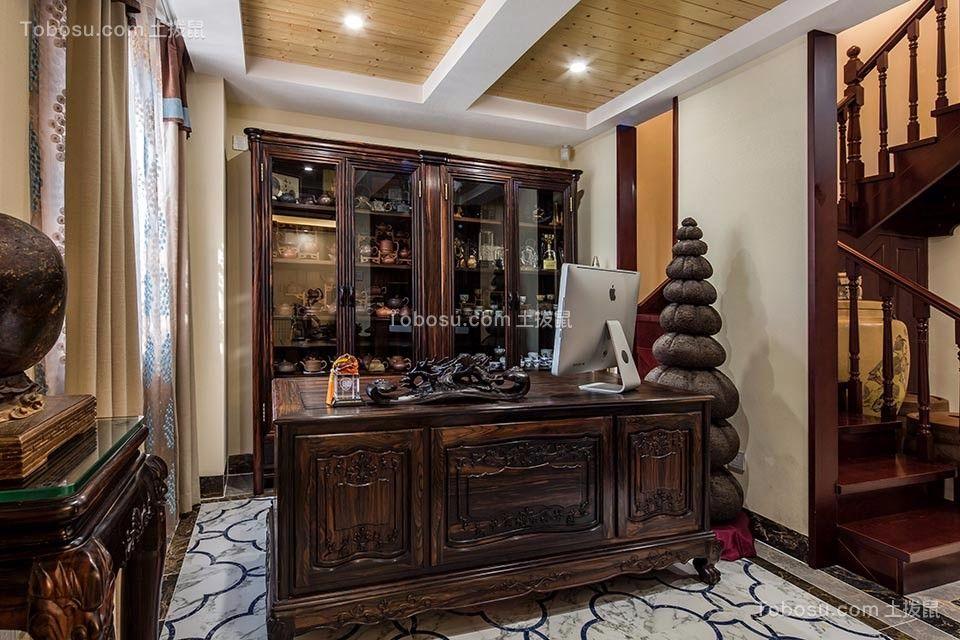 书房咖啡色书架新中式风格装潢设计图片