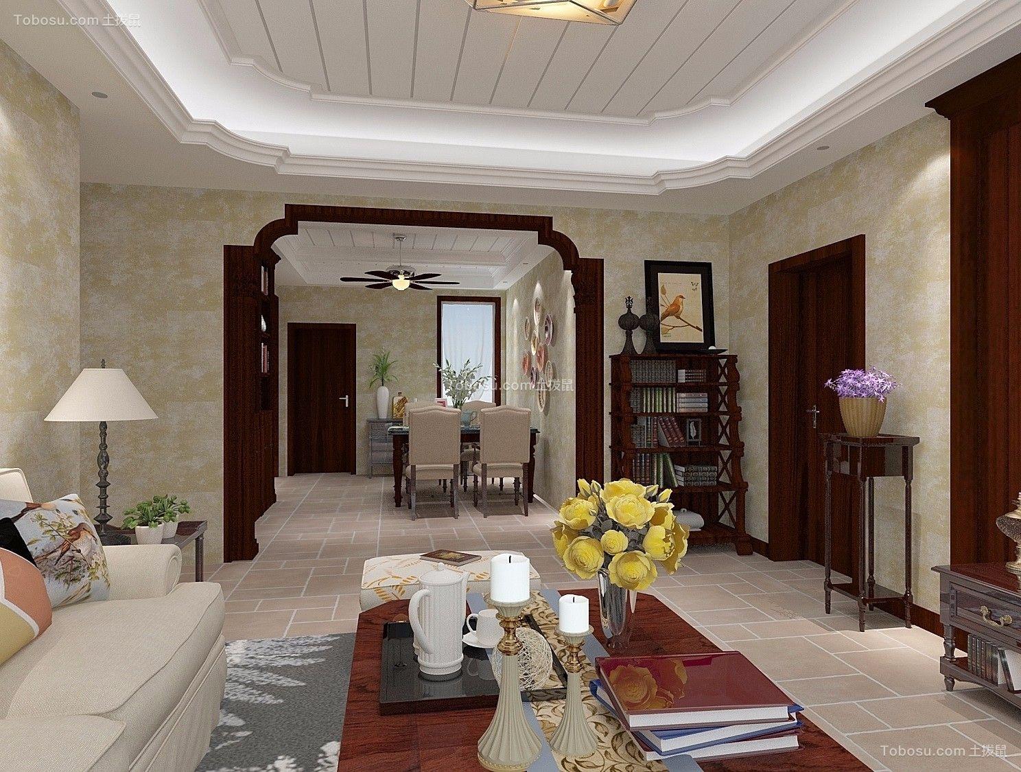 东方今典120m²美式风格楼房装修效果图